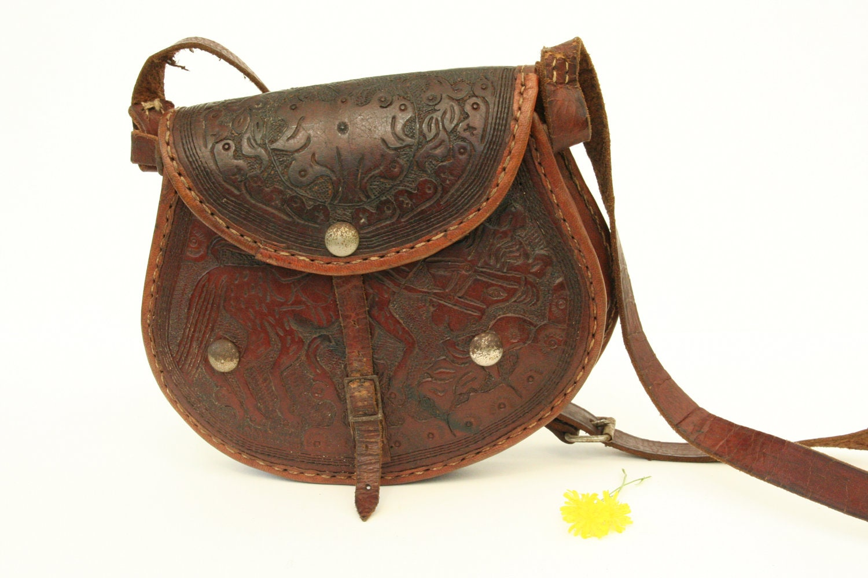 Vintage Boho Bag Italian Leather Purse By Andolinaswishes