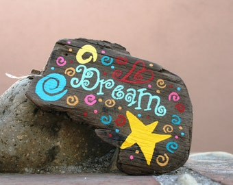 Colorful Dream Driftwood Magnet with Rainbow Swirls (Made to Order) peacelovedriftwood