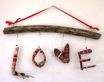 Hanging LOVE Driftwood Sign (Made to Order)