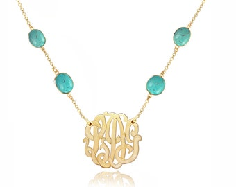 Turquoise Gemstone Necklace With Monogram Initials Charm (Order Any Initials) - 24K Gold Over Sterling Silver