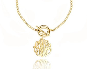 Personalized Toggle Initial Necklace  Small to Medium (Order Any Initials) - Sterling Silver with 24k Gold
