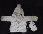 white and blue baby boy set