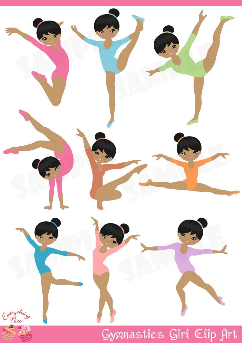 Afro Gymnastics / Gymnast Girl Clip Art by 1EverythingNice on Etsy