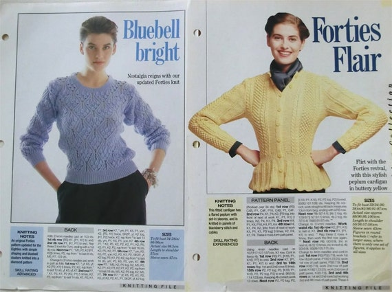 1940s  jumpers knitting patterns revival updated