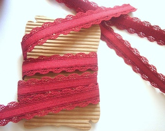 Elastic  Ribbon Trim, Elactic Wine Lace Trim 3 yards