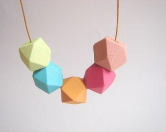 Hand Painted Pastel Geometric Wood Beads, wood Beads,  Geometric Jewelry,Do it Yourself Geometric necklace