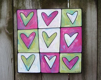 Custom Hearts acrylic on canvas painting