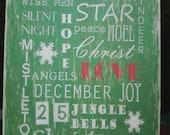 Christmas Subway Distressed Sign