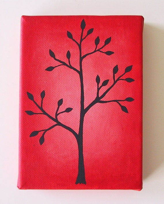 Red Tree Painting, Ready to Hang Original Acrylic Painting