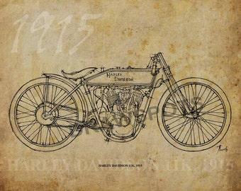 HARLEY DAVIDSON 11K 1915, Based on my Original Handmade Drawing, Art Print 11.5x16in, year 1915, valentines day