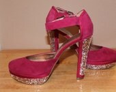 Cute Raspberry color heel  with Swarovski Rhinestones