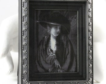 Handmade Vintage Inspired Framed Fabric Black and White Victorian Woman Wall Hanging Table Top                    Art
