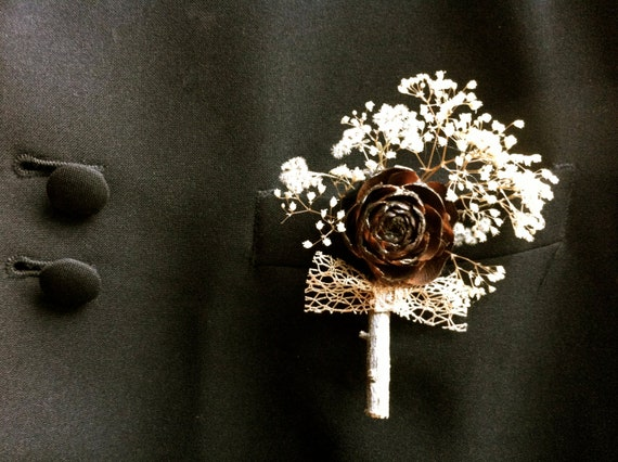 Rustic wedding boutonniere country forest pine cone winter lapel pin corsage