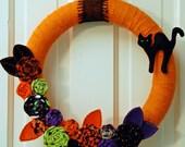 Halloween Wreath with Black Cat