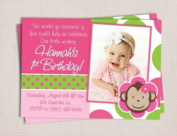 Girl's Block Style Custom Pink & Green Polka Dots Mod Monkey Birthday Party Printable Digital Invitation