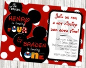 Mickey Mouse Birthday Invitation - For Twins or Joint Party - With or Without Photo