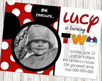 Mickey Mouse Birthday Invitation - Custom with Photo