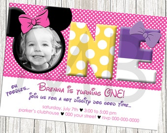 Minnie Mouse Photo Birthday Invitation