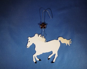 Metal White Horse Ornament w/ Star