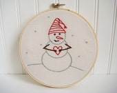 snowman hand embroidery pattern