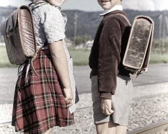 Swiss School Kids 1952 Vintage Print from Original Negative