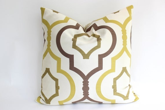 Decorative Pillow Covers in Chartreuse, Ivory and Brown Geometric Pattern, 20inch Square