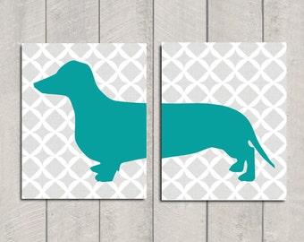 Dachshund Art Print - Modern Dog Art - Teal