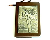 Journal Brown Smooth Leatherette Pewter Tree Inspirational Quote - Loutul