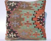 "HANDWOVEN Traditional Turkish Kilim Pillow Cover  13"" X 13"",Tribal Pillow,Vintage Kilim Pillow, Throw Pillow"