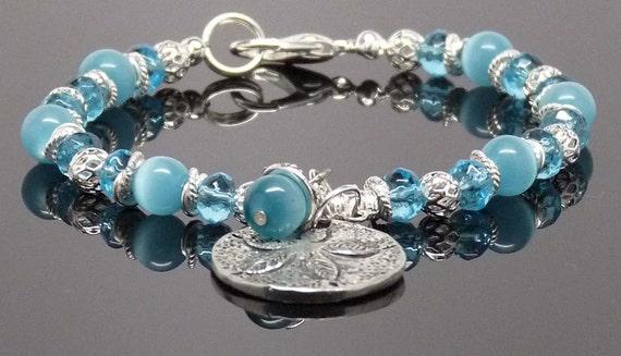 "SANDDOLLAR MESSAGE BRACELET:  8"" Hand Beaded Turquoise Accessory Gift"