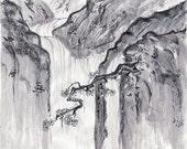 "Original Sumi-e Painting ""Waterfall"" - Japanese art - Wall decor - ink wash - bamboo brash from Anima Allegra"