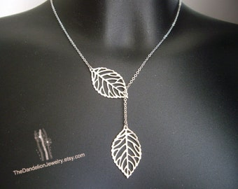 Leaf Necklace, Lariat Necklace, Pendants, Jewelry, Gift, SALE 10% OFF