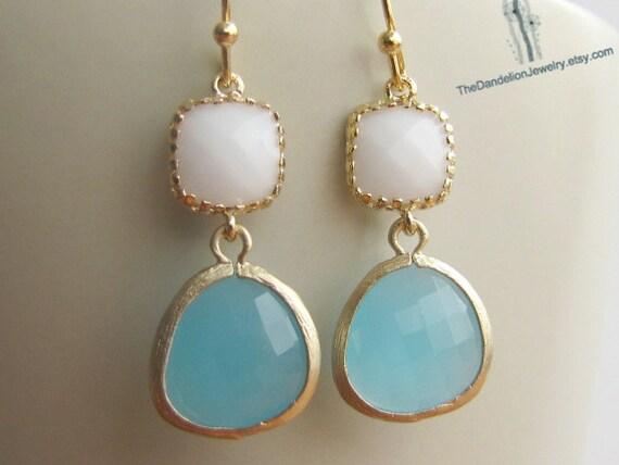 SALE 10% OFF: Glass Earrings White - Opal Dangle Earrings Drop Earrings Gift Jewelry