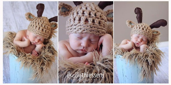 baby deer hat-hat with antlers-crochet hat-newborn-made to order-newborn photography-photo prop