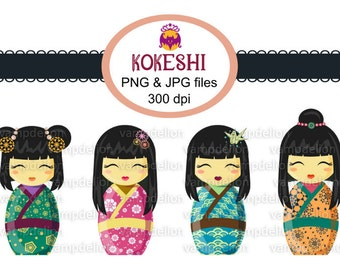 INSTANT DOWNLOAD - 4 Kokeshi dolls Clip Art-  Jpg and Png files