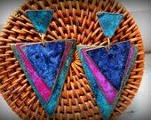 Vintage Metal Aztec Tribal Color 80s Earrings