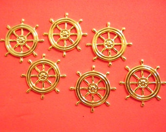 6 Vintage Goldplated 25mm Ships Wheels