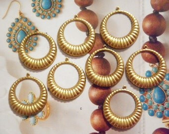 12 Brass Jewelry Earring Hoops