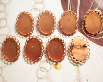 8 Coppercoated Brooches with 25x18mm Setting