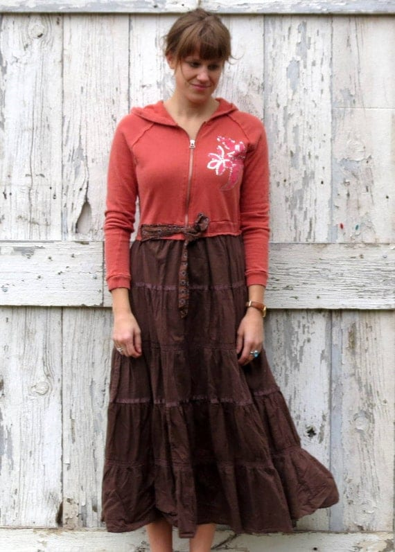 Raw Roses and Beautiful Brown Maxi Dress upcycled boho chic maxi dress eco friendly winter fashion
