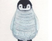 Childrens Wildlife art Penguin watercolour painting PRINT 5 x 7 Little penguin Cute Winter Snow Baby Animal Arctic Boy Girl Nature