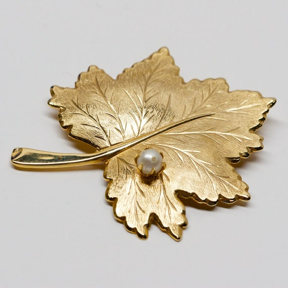 RESERVED Vintage Sarah Coventry Leaf Brooch with Faux Pearl