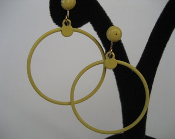 Simple Yellow Clip On Hoops