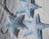 Three Hand Sewn Blue and White Felt Stars