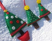 Three Hand Sewn Felt Christmas Tree Ornaments