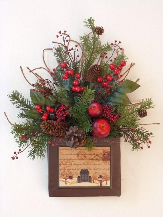 Christmas holiday metal door basket wreath vintage look red