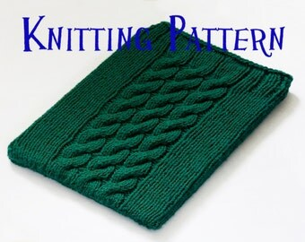 Instant Download PDF Knitting Pattern - iPad Sleeve, Cable Pattern iPad Case, DIY iPad Sock Instructions