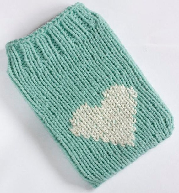 Kindle Paperwhite Case, Kindle 5 Cover, Kindle Touch sock, Kindle 4 sleeve, Mint Green with Cream Heart