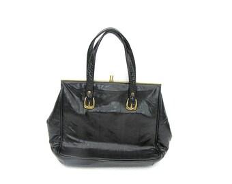 Black Retro Handbag Soviet Vintage Kiss Lock 1970s USSR, Black Evening Bag, Black Cocktail Bag, Retro Cocktail Bag, Retro Evening Bag