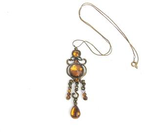 Antique necklace Chain necklace Vintage jewelry Rustic jewelry Rustic necklace Antique jewelry Amber color necklace Handmade vintage jewelry